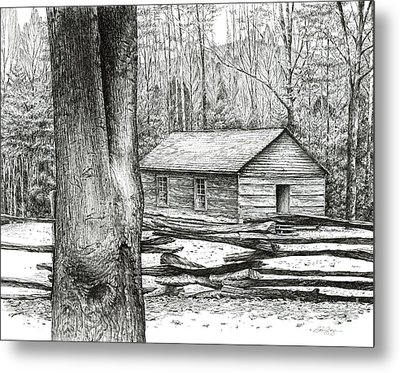 Metal Print featuring the drawing Little Greenbrier School House by Bob  George