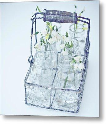 Little Jars In Wire Rack Metal Print by Karen Anderson Photography