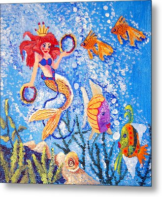 Little Mermaid In The Sea Metal Print by Janna Columbus