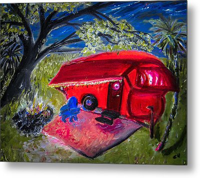 Little Red Camper Metal Print by Christy Usilton