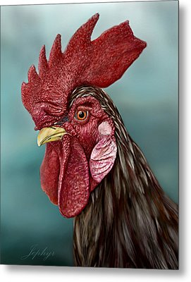 Little Red Rooster Metal Print by Jephyr Art