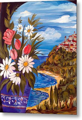 Metal Print featuring the painting Little Village by Roberto Gagliardi