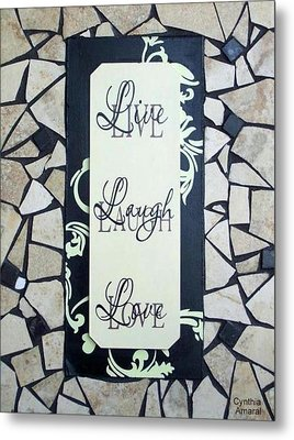 Live-laugh-love Tile Metal Print by Cynthia Amaral