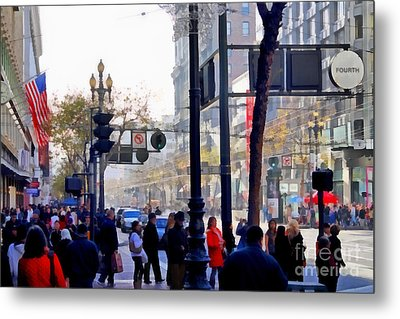 Lively Market Street In San Francisco . 7d4268 Metal Print by Wingsdomain Art and Photography