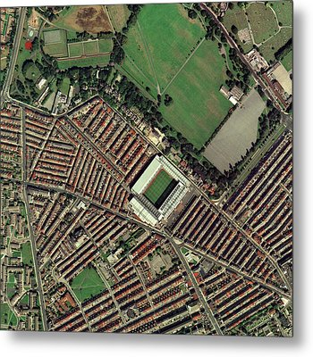 Liverpool's Anfield Stadium, Aerial View Metal Print by Getmapping Plc
