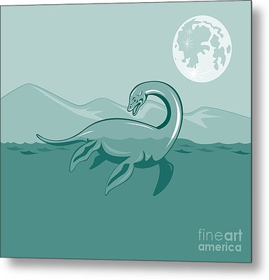 Loch Ness Monster Retro Metal Print