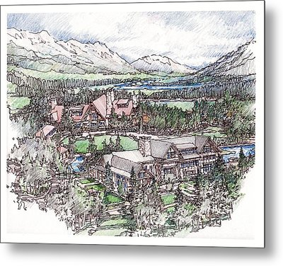 Metal Print featuring the drawing Lodge by Andrew Drozdowicz