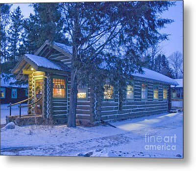 Log Cabin Library 1 Metal Print by Jim Wright