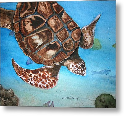 Loggerhead Turtle Metal Print by Mary Kay Holladay
