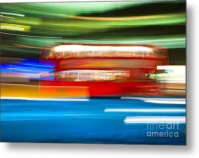Metal Print featuring the photograph London Bus Motion by Luciano Mortula