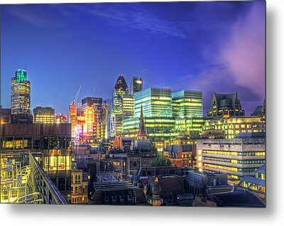 London Skyline At Night Metal Print by Gregory Warran