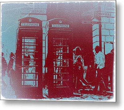 London Telephone Booth Metal Print by Naxart Studio