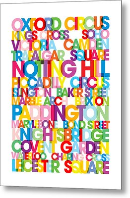 London Text Bus Blind Metal Print by Michael Tompsett