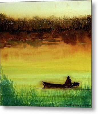 Lone Boatman Metal Print
