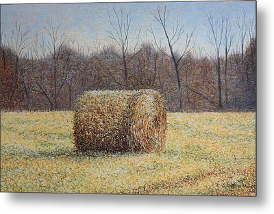 Metal Print featuring the painting Lone Haybale by Patsy Sharpe