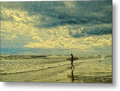 Lone Surfer Metal Print by Barbara Middleton