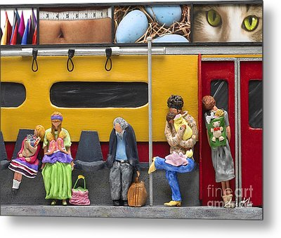 Metal Print featuring the sculpture Lonely Travelers - Crop Of Original - To See Complete Artwork Click View All by Anne Klar