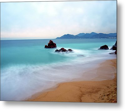 Long Exposure Of Blue Sea Metal Print