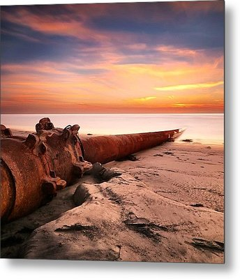Long Exposure Sunset At Cardiff State Metal Print by Larry Marshall