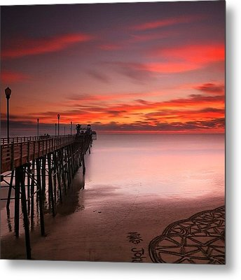 Long Exposure Sunset At The Oceanside Metal Print by Larry Marshall