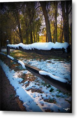 Long Snow Fence Metal Print by Michelle Frizzell-Thompson