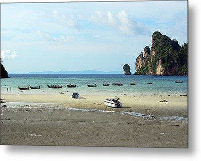 Long Tail Boats In Bay Of Phi Phi, Thailand Metal Print by Thepurpledoor