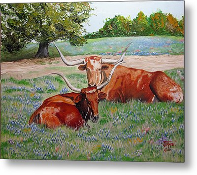 Metal Print featuring the painting Longhorns In Bluebonnet Field by Jimmie Bartlett