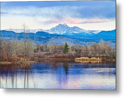 Longs Peak And Mt Meeker Sunrise At Golden Ponds Metal Print by James BO  Insogna