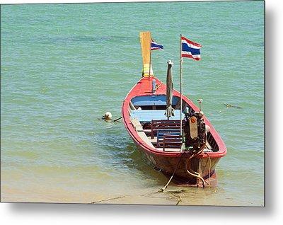 Longtail Boat At Sea Metal Print by Bill Brennan