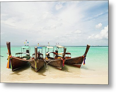 Longtail Boats At Phi Phi Island, Thailand Metal Print by Melissa Tse