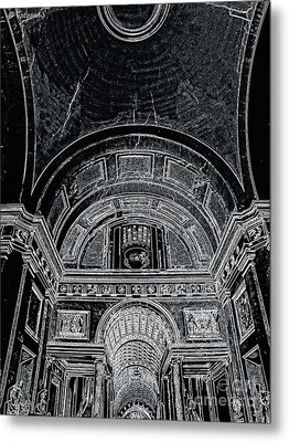 Looking Up. Vatican. Black Metal Print by Tanya  Searcy