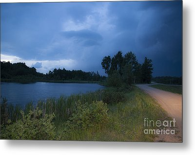 Looming Alberta Storm Metal Print by Darcy Michaelchuk