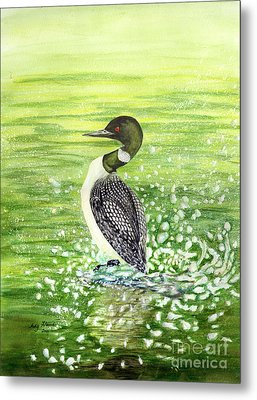 Metal Print featuring the painting Loon Art Judy Filarecki Watercolor by Judy Filarecki