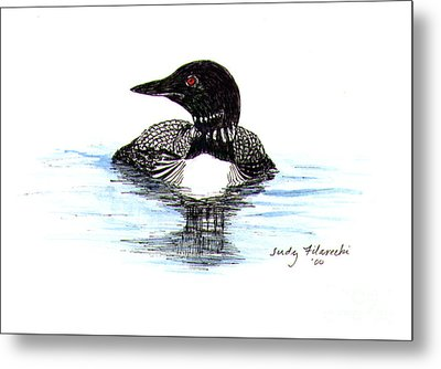 Metal Print featuring the painting Loon Swim Judy Filarecki Watercolor by Judy Filarecki