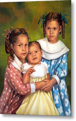 Metal Print featuring the painting Loretta And Her Sisters by Nancy Tilles