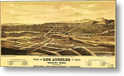Los Angeles From The East Metal Print by Pg Reproductions