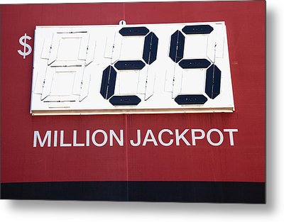 Lottery Sign With Winning Value Metal Print by Nathan Griffith