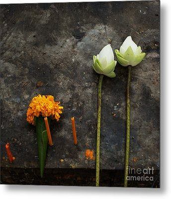 Lotus Flowers On A Thai Shrine Metal Print by Paul Grand
