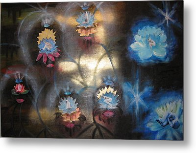 Metal Print featuring the mixed media Lotuses In Muddy Waters by Diana Riukas
