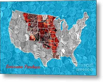 Louisiana Purchase Coin Map . V2 Metal Print by Wingsdomain Art and Photography