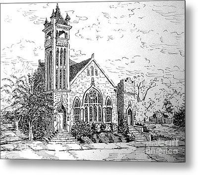 Metal Print featuring the drawing Louisianna Church 1 by Gretchen Allen