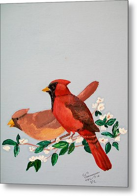 Metal Print featuring the painting Love Blossems   Unframed by Al  Johannessen