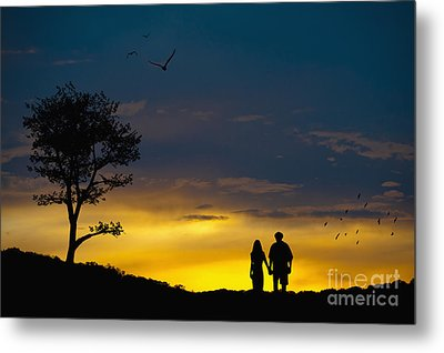 Love Couple Silhouette At Sunset Metal Print by Andre Babiak