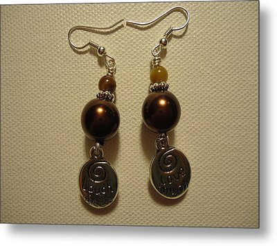 Love Much Laugh Often Earrings Metal Print