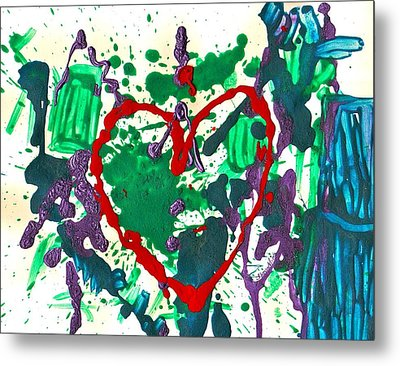 Metal Print featuring the painting Love Survives A Trashy Time by Sharon Mick