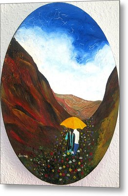 Lovers In A Valley Metal Print by Rejeena Niaz