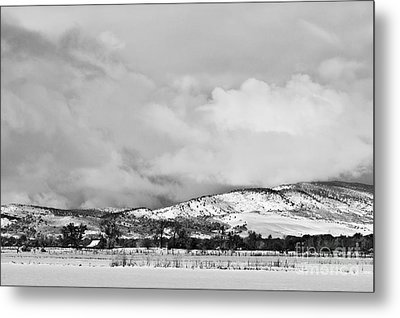 Low Winter Storm Clouds Colorado Rocky Mountain Foothills Bw Metal Print by James BO  Insogna