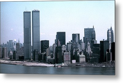 Lower Manhattan Island With Twin Towers Metal Print