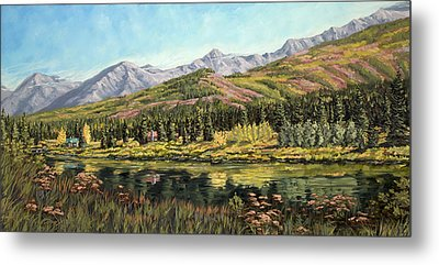 Metal Print featuring the painting Lower Summit Lake by Kurt Jacobson
