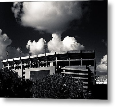 Lsu Tiger Stadium Black And White Metal Print by Maggy Marsh